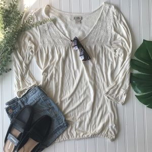 Lucky brand cream lace long sleeve tunic top